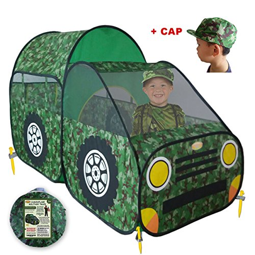 Kid's Camouflage Play Tent – Army/Military Style Children Toy Truck Offers Great Fun & Adventure for Boys & Girls, Camo Pop Up Playhouse for Indoor or Outdoor | Portable, Easy Assembly by WooHoo Toys