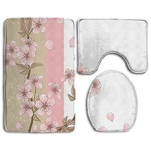MRBILLLIKE Alfombrilla de baño romántica Sakura flores pétalos alfombra de baño, antideslizante, juego de 3 piezas, alfombrilla de baño, alfombra + tapa de inodoro + alfombrilla de baño
