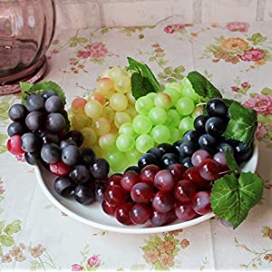 Chengsan Green Yellow Purple Black Artificial High Simulation Grapes, False Fruit Fake Grapes, Kitchen, Office and Photography Props (CS-FZSG02) 2