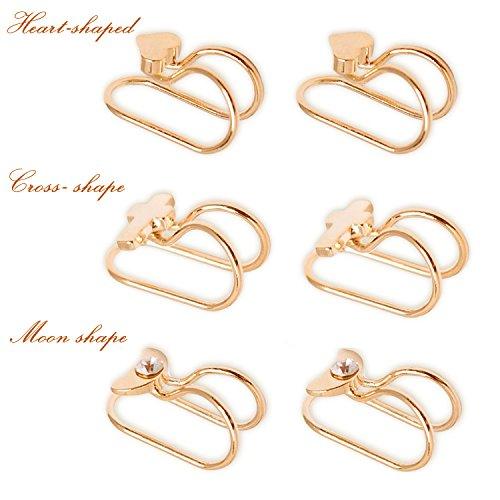 Casfine Ear Cuffs Non-Piercing Ear Bone Clip U-type Cartilage Ear Clip Ear Cuff Clip Wrap Set Mothers Day Gift