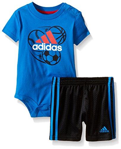 Adidas - Conjunto de Playera y Pantalones Cortos para bebé, Azul (Shock Blue), 18 Meses