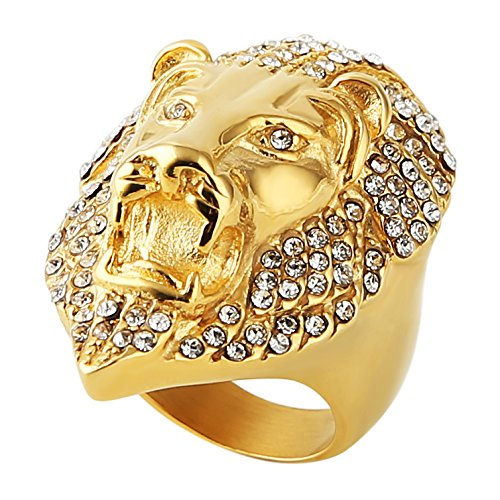 HZMAN Men's Cubic Zirconia Iced Out Lion 18K Gold Plated stainless steel Rings (8)