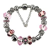 White Birch Silver Plated Charm Bracelet Charms Pandora Pink Christmas Birthday Gift Girl 10 Year Old Teenage 7 inch Jewelry DIY Hand Made Glass Beads Birthstones October