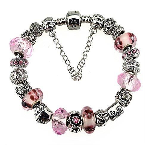Silver Plated Charm Bracelet with Charms for Pandora Pink Christmas and Birthday Gift for Girl 10 Year Old and Teenage 7 inch Jewelry DIY Hand Made Glass Beads Birthstones October Christmas Gift For 10 Year Old Girl