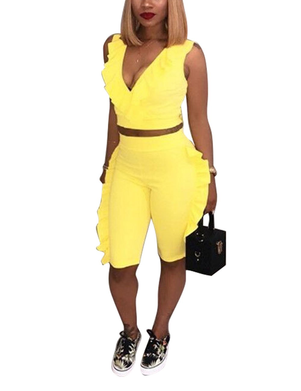 Fashion Ruffle Crop Tops and Short Set Pants Solid 2 Piece Outfit for Young Ladies Yellow 2XL
