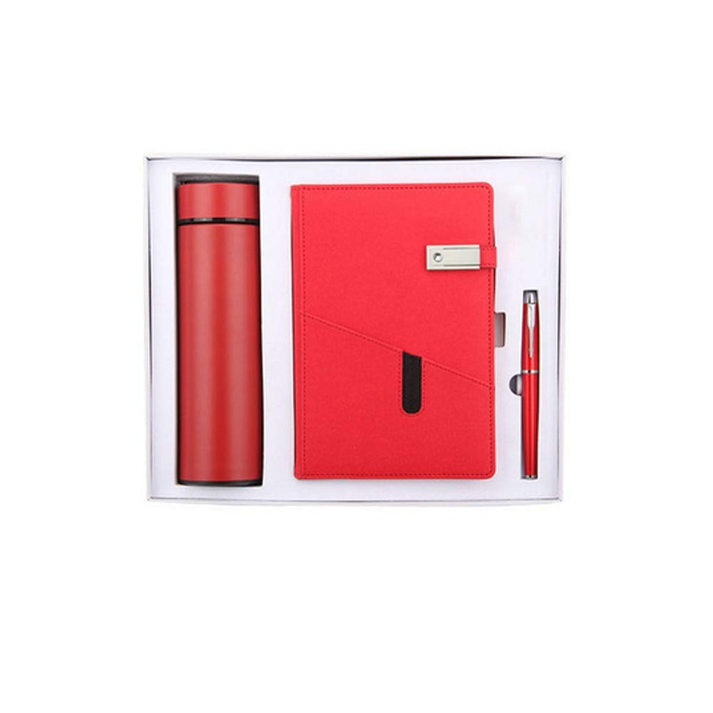 WUZHONGDIAN Notebook Magazine, Exquisite with Insulated Cup Notebook, Pager Gift - for Diary Notes Diary and Plan - Three-Piece Gift Box / 100 Sheets Office Supplies ( Color : Red )