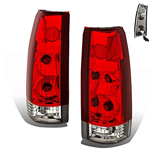 SPPC Red/Clear Euro Tail Lights Assembly Set For Chevy Full Size - (Pair) Driver Left and Passenger Right Side Replacement ()