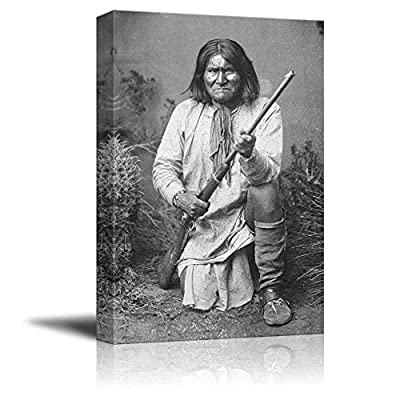 Portrait of American Indian Chief Goyaale Geronimo - Inspirational Famous People Series | Giclee Print Canvas Wall Art. Ready to Hang - 16