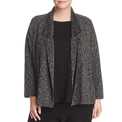 Eileen Fisher Womens Plus Knit Notch Collar Sweater Black 3X