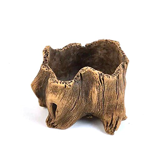 - Grandma's Story Vintage Gardening Pots, Creative Imitation Wood Concrete Cactus Succulent Planter Flower Pot (L)