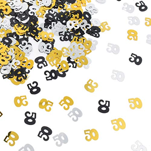 Number 50 Confetti Shiny Table Confetti for 50th Birthday Anniversary Party Decoration, Black Gold,Silver, 1.59 Oz ()