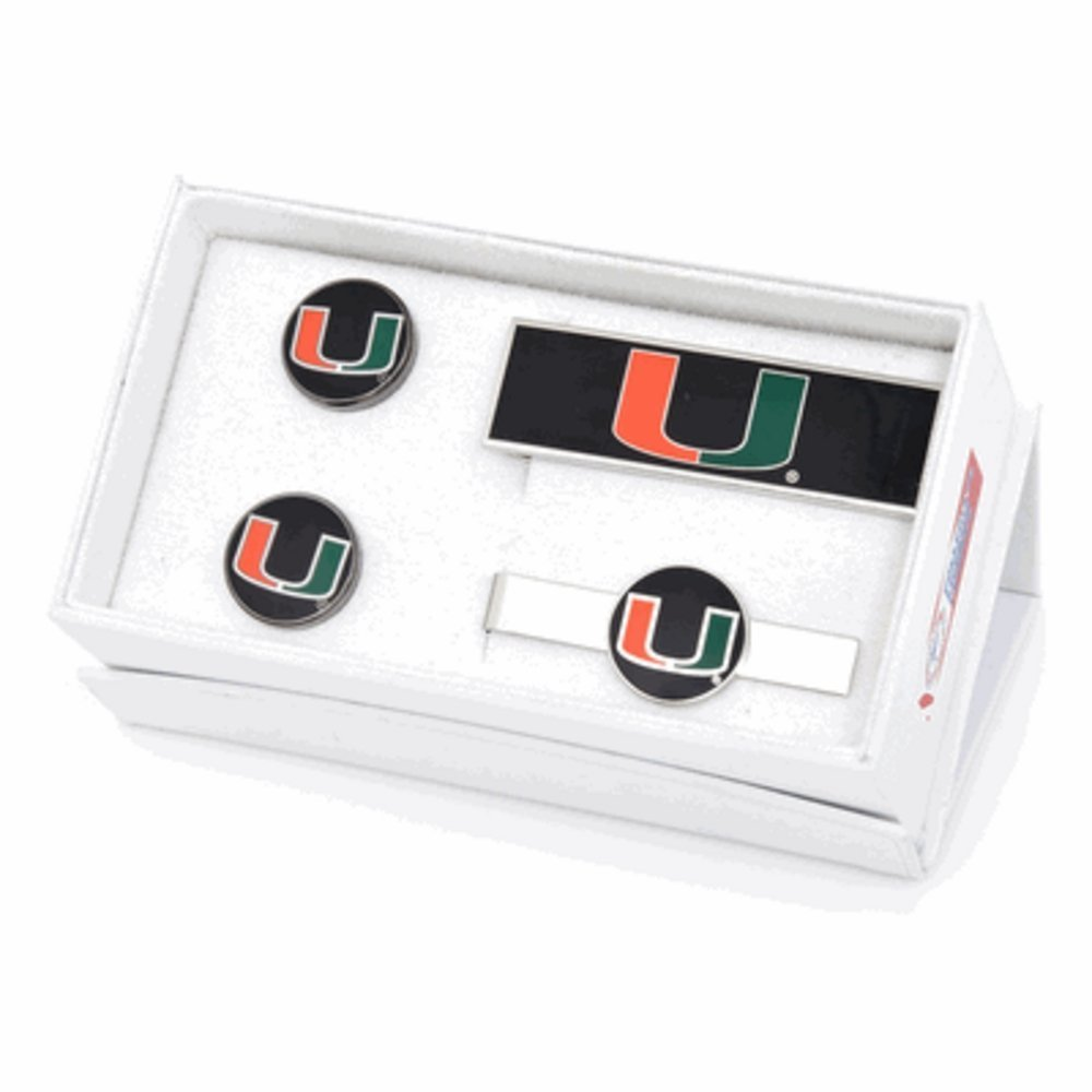 University of Miami Hurricanes Cufflinks, Money Clip and Tie Bar Gift Set