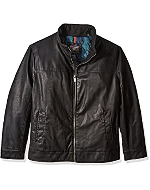 Men's Big Lamb Touch Faux Leather Stand Collar Jacket
