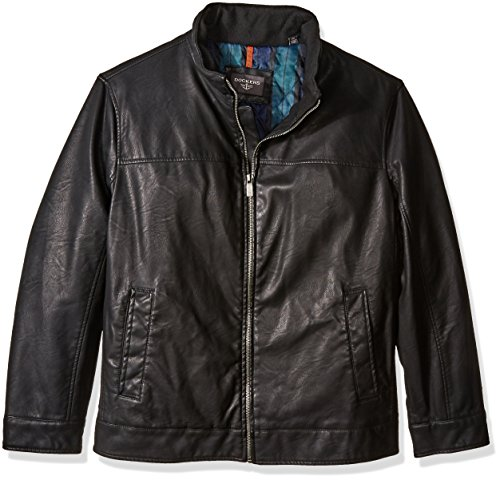 Dockers Men's Big Lamb Touch Faux Leather Stand Collar Jacket, Black, 2X