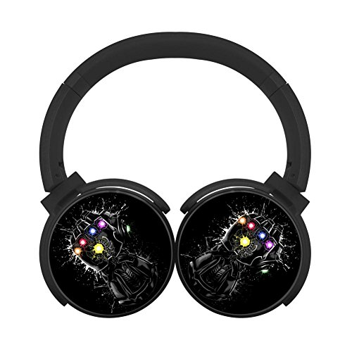 (Infinity Gems Multicolor Folding Design Wireless Bluetooth Headphones Fashion With Mic Over Ear, Headsets For Iphone, Ipad, Smartphone And Tv, 3.5Mm Plug Black)