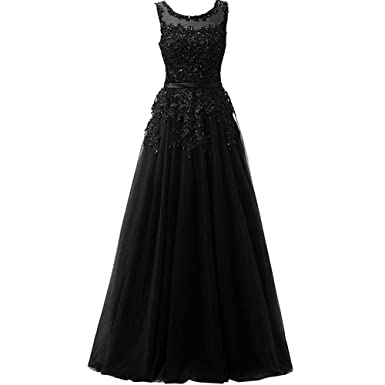 Lemai Long Beaded Lace Appliques Pearls Tulle Juniors Prom Evening Dress Black US 2