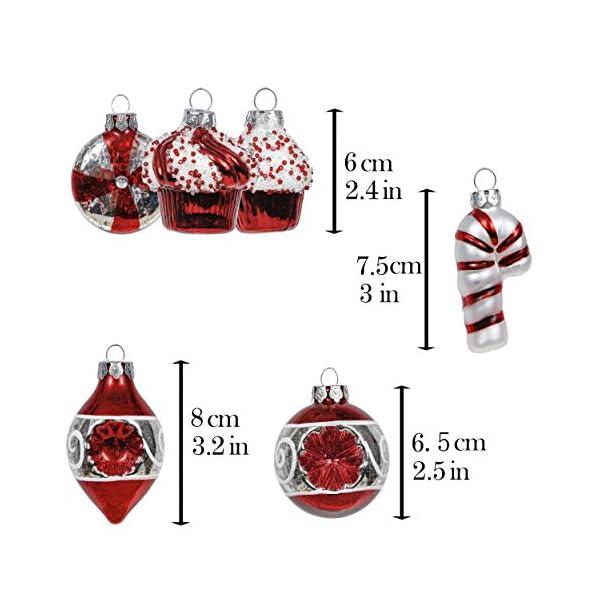 Valery Madelyn Palle di Natale Vetro Addobbi Natalizi Set, 16 Pezzi 6-8cm Traditional Red And White Palline di Natale Decoration for Addobbi Natalizi per Albero 2 spesavip