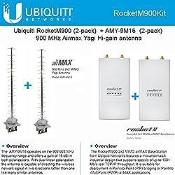 Ubiquiti RocketM900 (2-pack) 900MHz + AMY-9M16 x 2 16dBi Yagi 900MHz Antenna