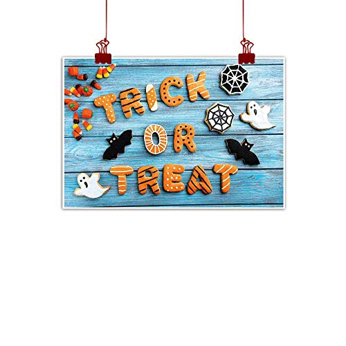 warmfamily Simple Life Minimalist Halloween,Fresh Trick or Treat Gingerbread Cookies on Blue Wooden Table Spider Web Ghost,Multicolor 32