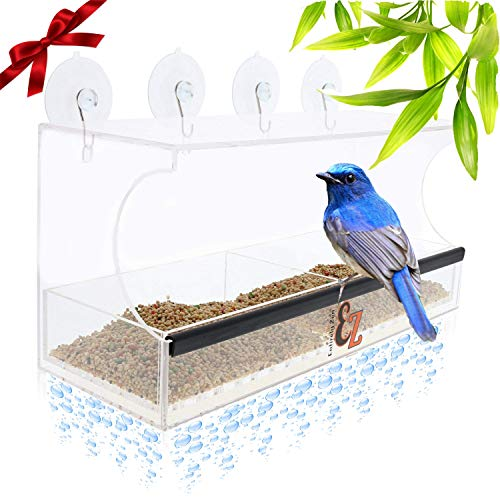 Fence See No Pet - SUPERIOR Window Bird Feeder For Outside Includes 2 Way Mirror Film, Super Strong Suction Cups, Removable Seed Tray, 100% Clear UP CLOSE Wild Bird Viewing, Best Bird Feeder GREAT Gift Idea!