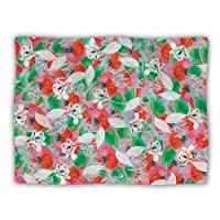 "Kess InHouse Akwaflorell ""Flying Tulips Red Green"" Dog Blanket, 60 by 50-Inch"