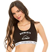 Underboss Womens Ladies Harry Potter 'Hogwarts Alumni' Black and White Active Sports Bra (See More Sizes)