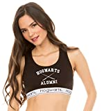 Underboss Womens Ladies Harry Potter 'Hogwarts Alumni' Black and White Active Sports Bra Medium