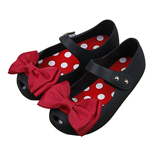 iFANS Girls Princess Mary Jane Cloth Bow Jelly Shoes Flats(Toddler Little Kids) Black]()