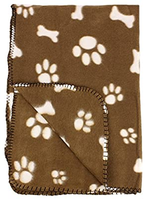 30x21 Inch Dog / Cat Fleece Blanket - Bone and Paw Print Assorted Color Pet Blankets by bogo Brands