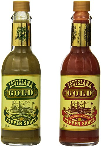 Louisiana Gold Hot Sauces Bundle of Two: Gold Green Pepper Sauce and Gold Red Sauce in 5 oz bottles