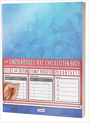 """Register uvm Mein Checklisten Buch // 122 Seiten // Jetzt mit Datum Priorität und Platz für Notizen // PR501 """"Blaue Polygone"""" // DIN A4 Soft Cover"""