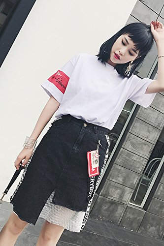 79796a6be61 Amazon.com  2018 summer new Korean characters irregular denim shirt ...