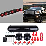cciyu 3pcs Smoke Cab Marker Light Cab Roof Running Top Clearance Marker Light Assembly T10-5-5050-SMD Red with Wiring Pack Replacement fit for 2002-2007 Chevy Silverado/GMC Sierra 1500 2500HD 3500