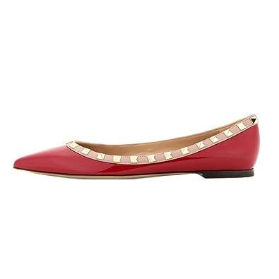 EKS Damen Spitz Flat Heels Spikes Ballerinas Schuhe Wohnungen White-Patent 37 EU 9XJr4Ca49X
