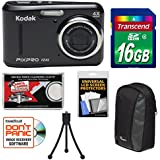 Kodak PIXPRO Friendly Zoom FZ43 Digital Camera (Black) 16GB Card + Case + Tripod + Kit