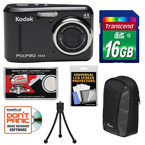 KODAK PIXPRO Friendly Zoom FZ43 Digital Camera (Black) with 16GB Card + Case + Tripod + Kit
