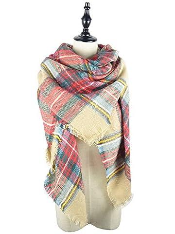 Slivery Color Womens Warm Scarf Square Shawls Large Mens Scarves Stripe Plaid Scarf - Yarn Fuchsia Plum