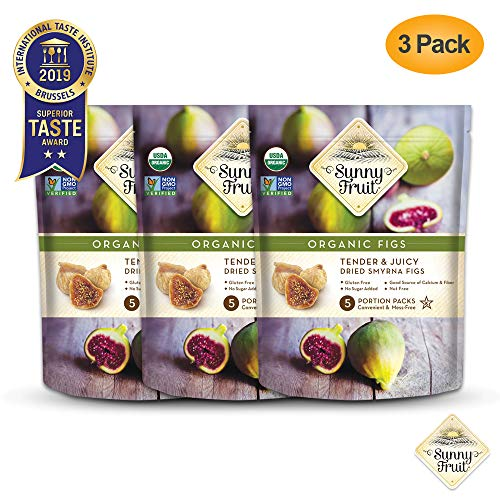 ORGANIC Turkish Dried Figs - Sunny Fruit - (3 Bags) - (5) 1.76oz Portion Packs per Bag | Purely Figs - NO Added Sugars, Sulfurs or Preservatives | NON-GMO, VEGAN, HALAL & KOSHER