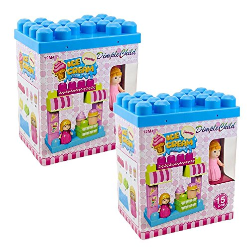 'The Ice Cream Shop' Block Set, Variety of 15 Building Blocks with Different Shapes & Sizes, Along with Buildable Lid & Girl Figurine, Educational Toy, Great for Kids & Toddlers by Dimple (Mega Size Cones compare prices)