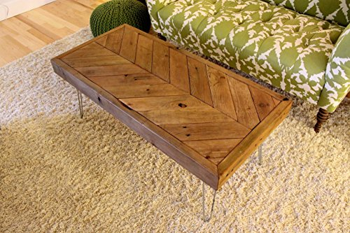 Chevron Reclaimed Wood Coffee Table on Hairpin Legs - Made to Order