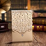 Wishmade 100 Pieces Gold Laser Cut Wedding Invitations Cards with Rhinestone Engagement Party Bridal Shower Invitations CW5010