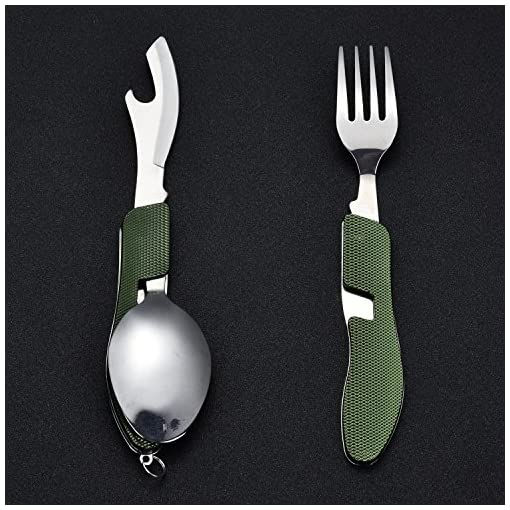 Camping Utensil Stainless Steel Fork Knife Spoon Bottle Opener Set