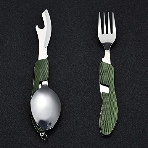 Knife Fork Spoon Combo Hikenture 4-In-1 Stainless Steel Camping Utensil with Storage Case (Army Green)