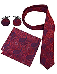 Peach Couture Men's Paisley Boho Style Necktie Cufflinks Pocket Square Handkerchief Set (Red/Purple)