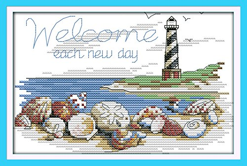 Cross stitch kits for lighthouse - Eafior DIY Handmade Needlework Embroidery Kits lighthouse pattern printed design Home Decoration Wall Decor 22×16cm(No frame)