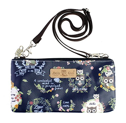 Fashionable Cloth Iconic Crossbody Mobile Phone Pouch with Shoulder Strap, Owl Family Pattern Design, Navy (Her Mobile Phone)