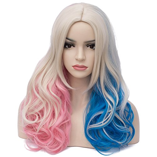 Aosler Colorful Wigs for Women 18 Inches Wavy Curly Cosplay Wigs Synthetic Costume Party Wigs