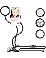 Neewer 10 inches USB-Powered LED Ring Light: 2-Power 5W/10W Dimmable Bi-color 3200-5500K On-Camera Light with Stand Base, Soft Tube, Cellphone Clamp for YouTube Videos, Make Up, Beauty, Live Streaming
