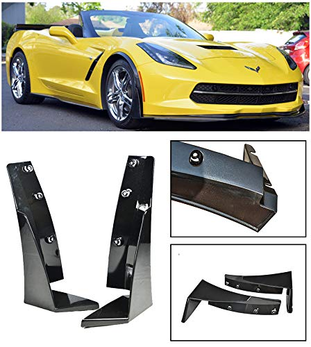 for 2014-Present Chevrolet Corvette C7 | EOS Z06 Stage 3 Style ABS Plastic Painted Carbon Flash Metallic Front Bumper Lower Splitter Side Extension Winglets