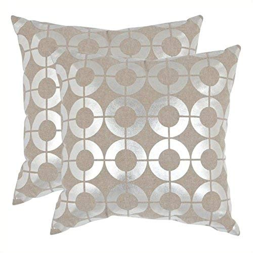 Safavieh Pillow Collection Throw Pillows, 22 by 22-Inch, Bailey Pillow Silver, Set of 2